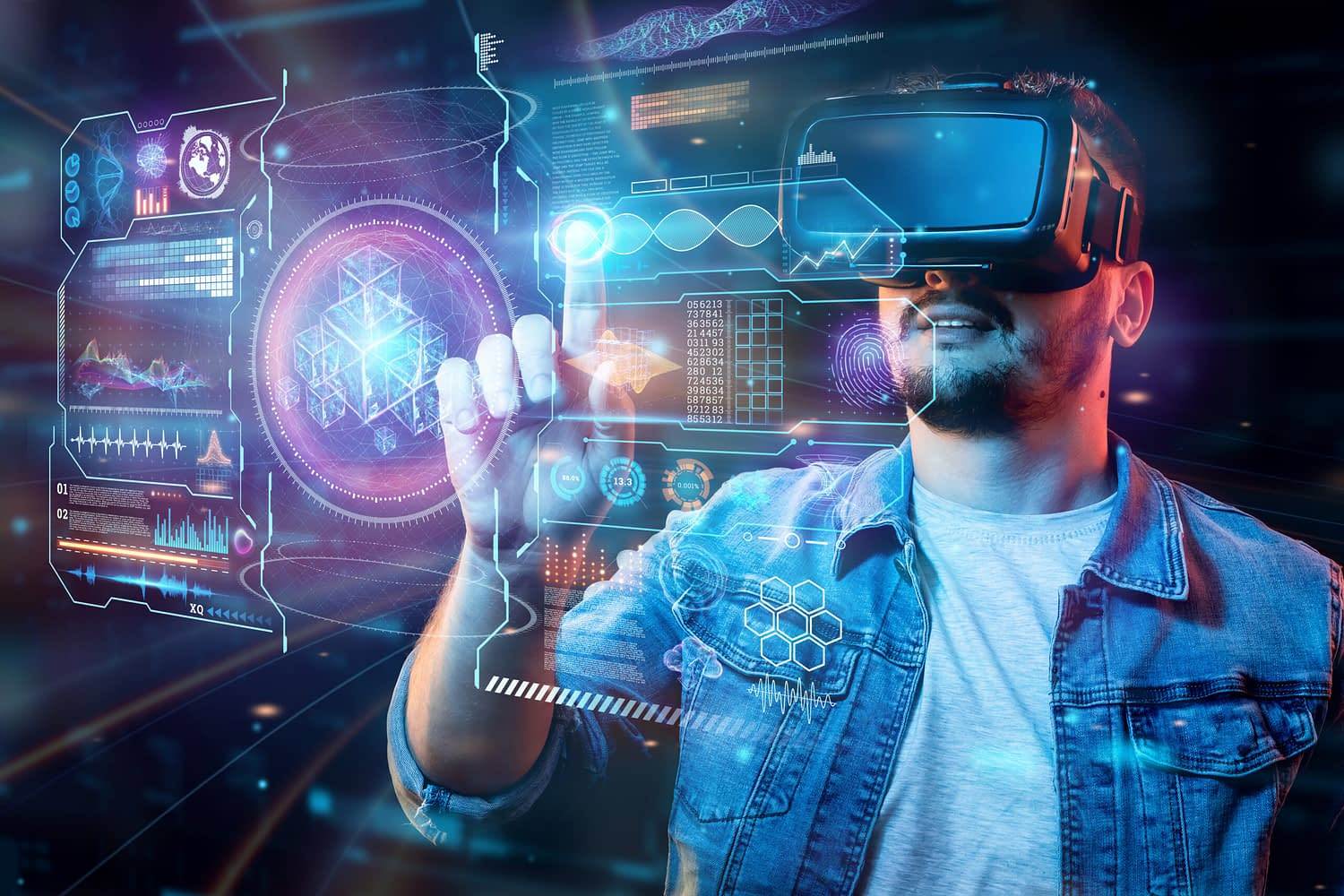 Portrait of a man with glasses of virtual reality, vr, interacts with a virtual screen. The concept of the future is here, applications complement reality, the interface of virtual reality